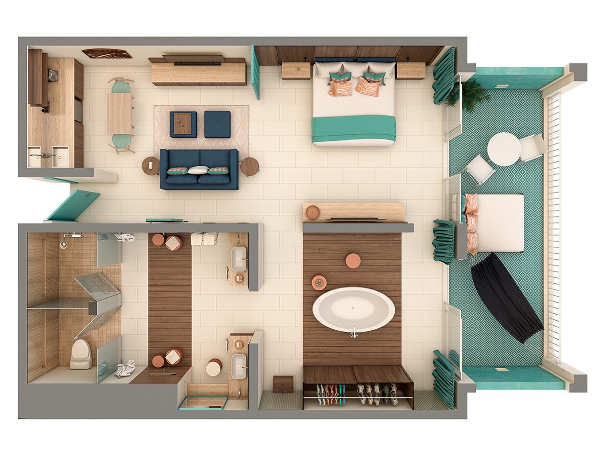 Uno Romantic Suite Floor Plan